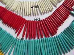 wholesale turquoise beads sharp spikes bar purple red assortment jewelry necklace 20-50mm--2strands