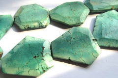 "handmade 18-35mm 16""/per turquoise beads freeform slab faceted green jewelry beads"