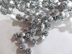 5strands 10 12 14mm wholesale resin plastic rose florial petal gray grey silver brown assortment color jew