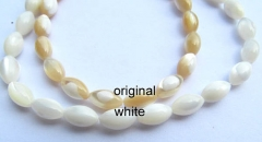 5strands 8x16mm genuine MOP shell Bergius,mother of pearl rice egg white coffee assortment bead