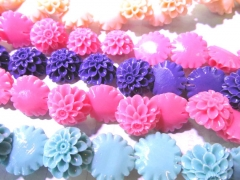 high quality 100pcs 12 16 20 25 30mm resin plastic jewelry bead ,chrysanthemum florial petal druzy pink assortmen