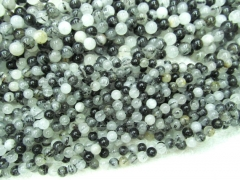 rutilated beads5strands 4-14mm Natural black white Rutilated Quartz Round ball smooth loose beads