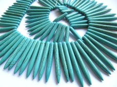 wholesale turquoise beads sharp spikes bar cream white mixed jewelry necklace 20-50mm--2strands 17in