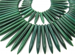 wholesale turquoise beads sharp spikes bar dark green mixed jewelry necklace 20-50mm--2strands