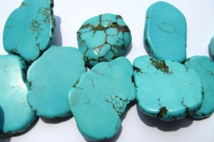 35%off-- 18-100mm full strand turquoise beads freeform slab nuggets green jewelry beads