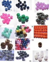 100pcs 12-20mm resin rhinestone beads ball basketball waves spacer round assortment Shambhala beads