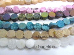 Drilled--AA Grade 8-16mm full strand Genuine Duzy Drusy Agate Round Coin Clear white Silver Gold Bla