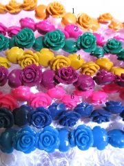 100pcs 12mm  wholesale resin plastic rose florial petal red blue pink green assortment color jewelry