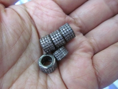 Assortment Micro Pave CZ Spacer, Top Quality 12pcs 8x10mm Brass Cubic Zirconia drum Tube col