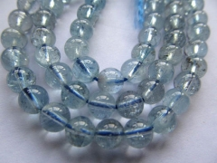 AA grade 4 6 8 10 12 14 16mm full strand Genuine Aquamarine Beryl for making jewelry Round Ball Blue
