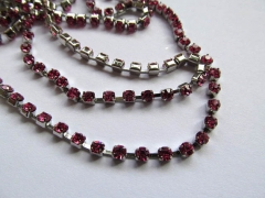 wholesale 3mm 10M rhinestone chain,metal tone box crimsone fuchsia rose assortment jewelry stands
