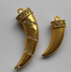 12pcs 40mm Micro Pave Crystal Horn Pendant Brass European Bead spikes Sharp silver gold hematite gunemtal brozn