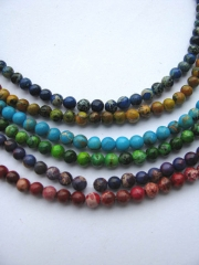 5strands 4-12mm  sea sediment veins imperial jasper  round ball multicolor mixed  jasper stone