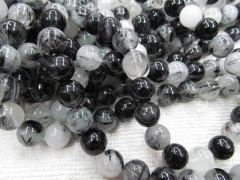 6-12mm full strand genuine black rutilated quartz round ball gemstone bead