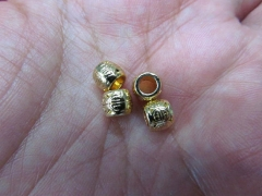 wholesale 6x8mm 20pcs cubic zirconia pave brass micro connector beads gold barrel round