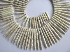 high quality turquoise beads sharp spikes bar cream white mixed jewelry necklace 20-50mm--2strands