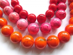 16 18 20mm full strand  turquoise beads round ball green pink hot red blue oranger black mixed jewelry beads