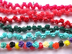 resin plastic 8mm 50pcs--high quality rose florial petal red blue pink green assortment color jewelr