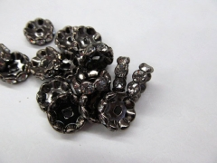 free ship--200pcs 4 -10mm Micro Pave Crystal spacer metal Rondelle Pinwheel Buttone fluorial curved black je