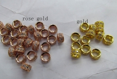 Micro Pave CZ Spacer 50pcs 5x6mm Brass Cubic Zirconia rondelle drum Tube column rose gold s