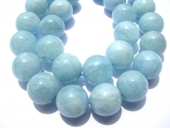 Genuine Aquamarine Beryl gemstone high quality Round Ball Blue jewelry beads 4 6 8 10 12 14 16mm ful