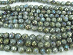 2strands 8 10 12mm Natural Labradorite for making jewelry AB Mystic round ball faceted Blue Flashy L