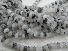 wholesale 5strands 5x8mm genuine black rutilated quartz rondelle abacus gemstone bead