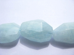 Genuine Aquamarine Beryl Freeform Nuggets Faceted Blue jewelry bead 15-35mm full strand
