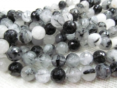 5strands 6-12mm high quality genuine black rutilated quartz round ball faceted gemstone bead