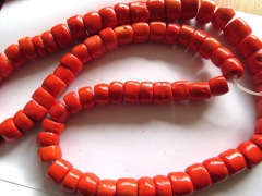 2strands 4-12mm high quality Red Coral Beads,Bamboo Coral Drum Column rice Handmade Polished Red Ora