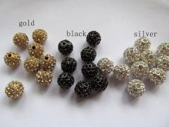 106pcs 10mm Bling Pave Crystal spacer round ball silver gold rose gold mixed crystal finding