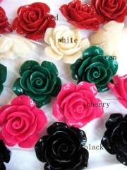 fashoin resin plastic 36mm 16pcs--high quality rose florial petal black jet white oranger peach asso