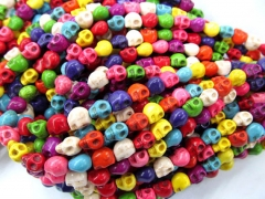 FREE SHIP--13strands 8x10mm turquoise beads skeleton skull multicolor assortment jewelry b