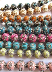 wholesale 20mm full starnd Polymer clay & crystal ,Kashmiri Polymer Brass Round ball mixed jewelry b