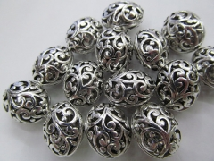 50pcs 9x13mm Vintage Rhinestone Brass Connector ,Oval Oval Eegg Drum Carved Antique Silver Gold Blac