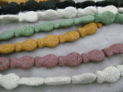 Wholesale 2strands 10-25mm Lava Volcanic Gem Fish Animals Cream white Dark Green Royal Blue Pink Pur