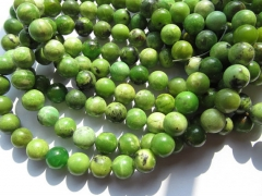 4 6 8 10 12mm full strand genuine chrysoprase beads round ball green olive connector beads