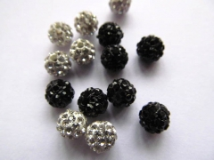 high quality 100pcs 4-16mm Micro Pave Clay Crystal rhinestone Round Ball clear white mixed Charm bea