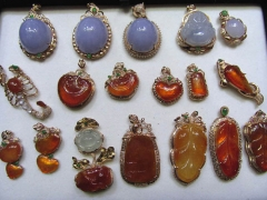 order list--Assortment gemstone emeral chelcedony jade & 24k gold jewelry pendant