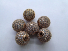 rose gold Cubic Zirconia Micro Pave Brass European Bead 12pcs 6-16mm ,Rourn Ball  spacer bead