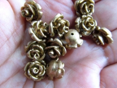 half drilled --100pcs 8 10 12 15mm Gold Resin plastic Arcylic charm beads Rose flower fluorial Assor