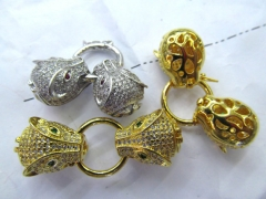 24K gold jewelry clasp & Hooks Micro Pave set cubic zirconia ,Leopard Head Beads link connector