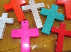 lager 6pcs 28x60mm Turquoise stone Cross blue white pink oranger red Mixed turquoise pendant jewelry