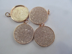 6pcs 30mm CZ Micro Pave Beads Spacer Beads roundel disc Micro Pave Disc Connector CZ Pave Connector