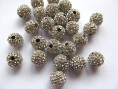 Antique Silver micro pave bling round spacer bead Round Hematite Gold gunmetal Finding 20pcs 6-12mm