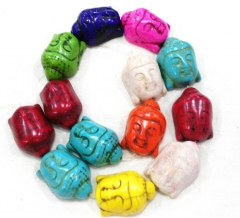 black turquoise 15-30mm full strand Howlite Turquoise buddha carved multicolor rainbow turquoise necklace beads