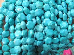 5strands 10mm Turquoise stone round disc hexagon faceted DIY Bead