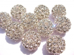 AA +12pcs 20-30mm Bling Micro Pave Crystal Brass Filigree Beads Spacer Round Metal Spacer Beads Bead