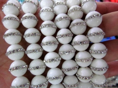 High Quality 6-14mm Natural white Turquoise stone ,purple agate Round Ball & cubic zirconia jewelry beads