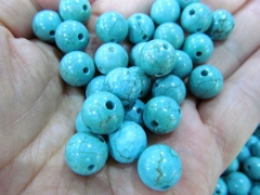 Half drilled---high quality 24pcs 4-16mm Turquoise stone Cabochons Veins Round Ball blue Green mixed jewelry beads